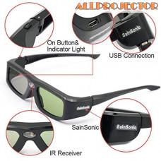 3D очки SainSonic 144 Hz 3D Active Rechargeable Shutter Glasses for DLP-Link Projectors, SSZ-200DLB